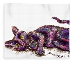 Purple Cat Fleece Blanket