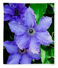 Purple Clematis Fleece Blanket