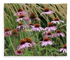 Purple Coneflowers Fleece Blanket