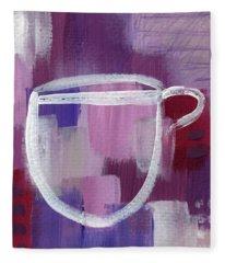 Purple Cup- Art By Linda Woods Fleece Blanket