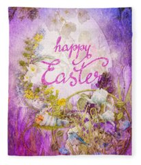 Purple Easter Fleece Blanket