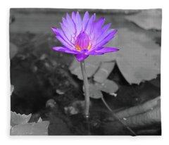 Purple Enlightened Lotus Fleece Blanket