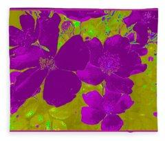 Purple Flower Abstract Fleece Blanket