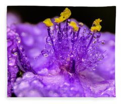 Purple Flower After The Rain Fleece Blanket