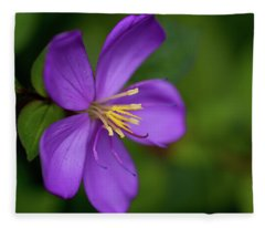 Purple Flower Macro Fleece Blanket