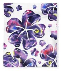 Purple Flowers Dance Fleece Blanket