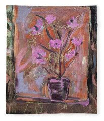 Purple Flowers In Vase Fleece Blanket
