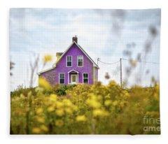 Purple House And Yellow Flowers Fleece Blanket