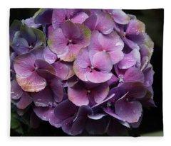 Purple Hydrangea- By Linda Woods Fleece Blanket