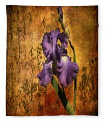 Purple Iris At Sunset Fleece Blanket