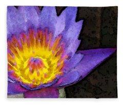 Purple Lotus Flower - Zen Art Painting Fleece Blanket