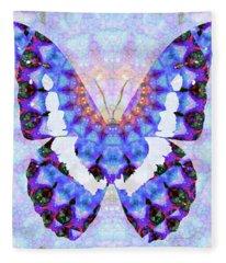 Purple Mandala Butterfly Art By Sharon Cummings Fleece Blanket