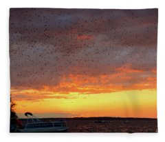 Purple Martin Sunset On Lake Murray Sc Fleece Blanket