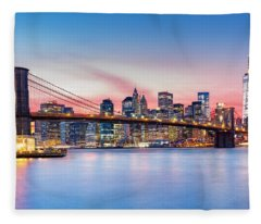 Purple Nyc Sunset Fleece Blanket