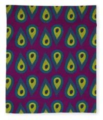 Purple Peackock Print  Fleece Blanket