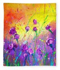 Purple Posies Fleece Blanket