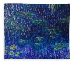 Purple Rain On Water Lilies Fleece Blanket