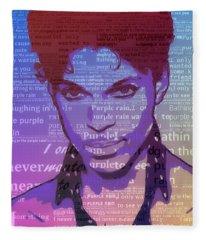 Purple Rain Typography Fleece Blanket