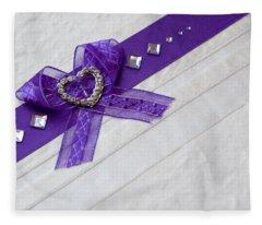 Purple Ribbon Heart Fleece Blanket