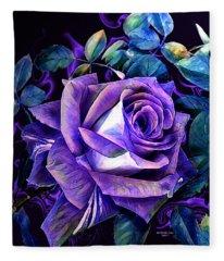 Purple Rose Bud Painting Fleece Blanket