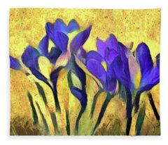 Purple Spring Crocus Flowers Fleece Blanket