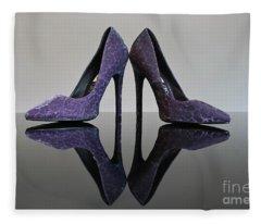 Purple Stiletto Shoes Fleece Blanket