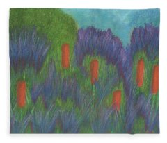Purple Strife And Cattails Fleece Blanket