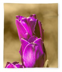 Purple Tulips Sepia Background Fleece Blanket