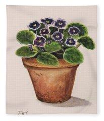 Purple Violets Fleece Blanket