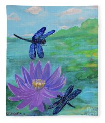 Purple Water Lily And Dragonflies Fleece Blanket