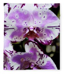 Purple And White Orchid Fleece Blanket