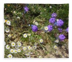 Purple White Flowers Fleece Blanket