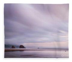 Purple Wisp In The Morning Fleece Blanket