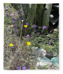 Purple Yellow Flowers Green Cactus Fleece Blanket