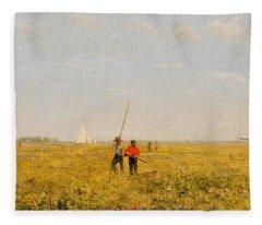Pushing For Rail, 1874 Fleece Blanket