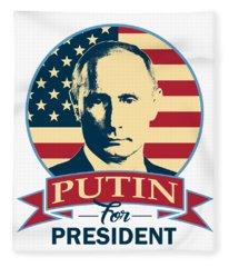 Putin For President American Banner Pop Art Fleece Blanket