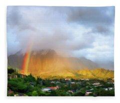 Puu Alii With Rainbow Fleece Blanket