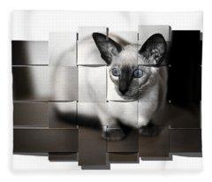 Puzzled Kitty Fleece Blanket