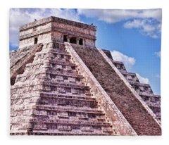 Pyramid Of Kukulcan At Chichen Itza Fleece Blanket