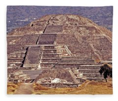 Pyramid Of The Sun - Teotihuacan Fleece Blanket