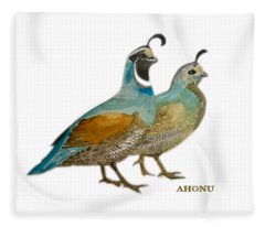 Quail Pair Fleece Blanket