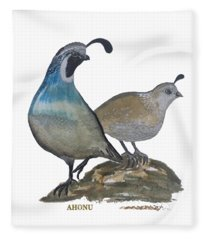 Quail Parents Wondering Fleece Blanket