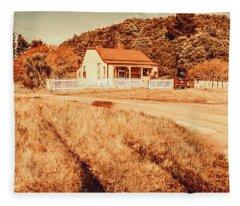 Quaint Country Cottage Fleece Blanket