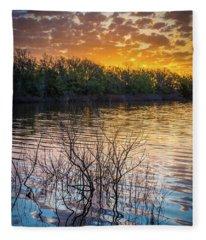 Quanah Parker Lake Sunrise Fleece Blanket