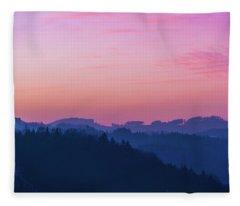 Quartz Sunset Sky Over Blue Ridges Of Mountains Fleece Blanket