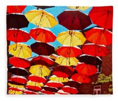 Raining Umbrellas Fleece Blanket