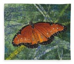 Queen Butterfly Watercolor Batik Fleece Blanket
