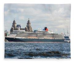 Queen Elizabeth Cruise Ship At Liverpool Fleece Blanket