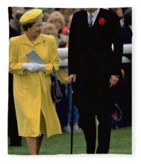 Queen Elizabeth Inspects The Horses Fleece Blanket