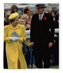 Queen Elizabeth Inspects The Horses Fleece Blanket